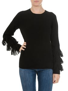 Michael Kors - Black crewneck pullover with fringes