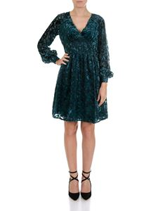 Michael Kors - Luxe teal-colored dress with velvet inserts