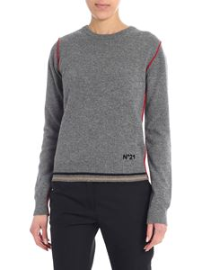 N° 21 - Gray melange pullover with logo