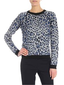 Jucca - Gray and blue animalier lamé pullover