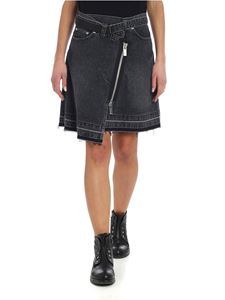 Sacai - Black denim wrap skirt