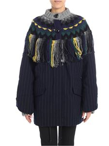 Sacai - Blue pinstripe coat with knitted details
