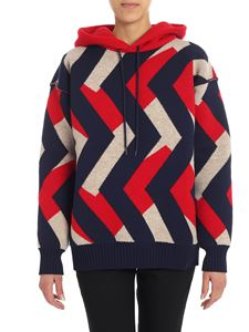 Junya Watanabe - Blue geometric knitted sweater