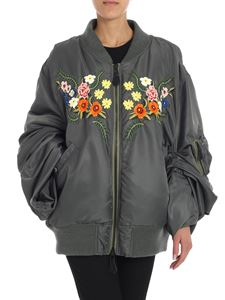 Junya Watanabe - Green bomber with floral embroidery
