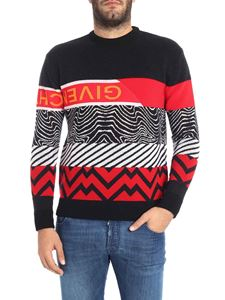 Givenchy - Black and red geometric pattern sweater