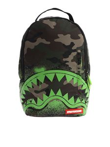 """Sprayground - Green """"Lil Camo Glow In The Shark"""" backpack"""