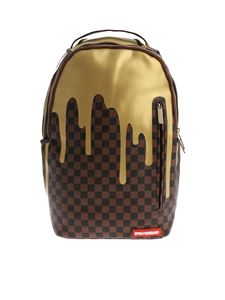 "Sprayground - Zaino ""Gold Checkered Drips"" marrone"