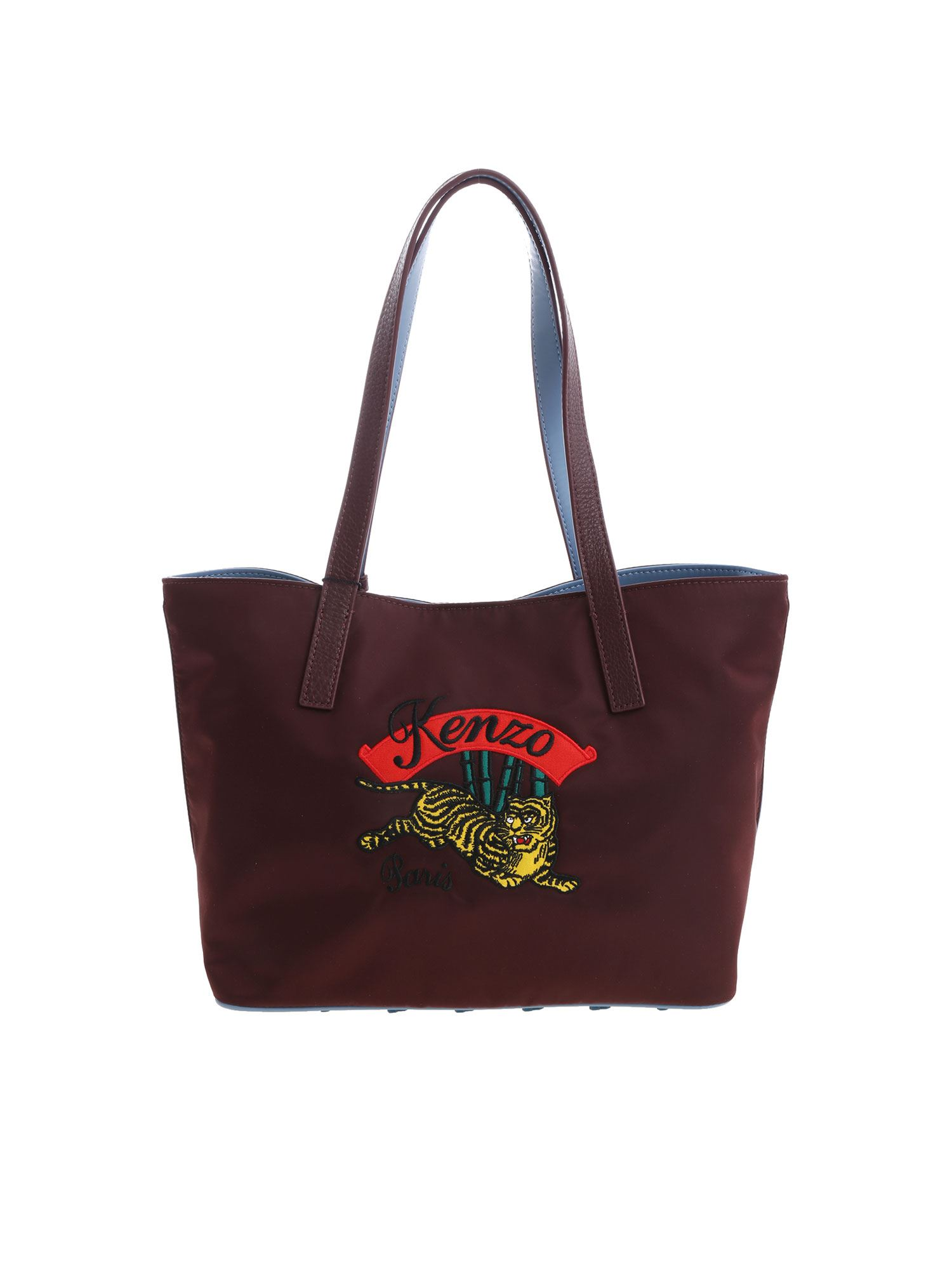 """Kenzo Burgundy Small """"jumping Tiger"""" Bag In Red"""