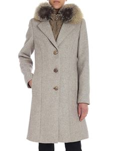 Diego M - Melange beige hooded coat