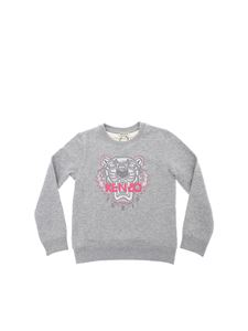 "Kenzo - Grey and pink ""Jumping Tiger"" sweatshirt"