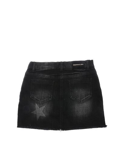 Monnalisa - Black delavé mini skirt with stars print