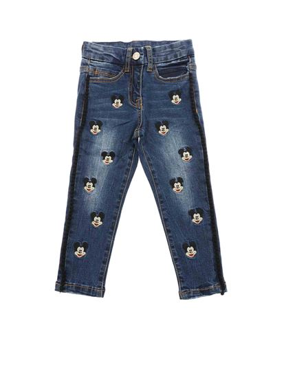 Monnalisa - Blue Mickey Mouse embroidered jeans
