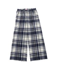 Il gufo - Blue and grey trousers with tartan motif
