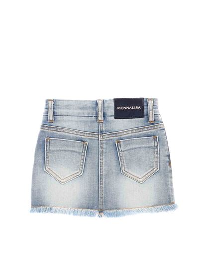 "Monnalisa - ""Cinderella"" embroidered denim mini skirt"