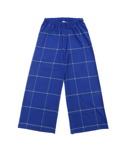 Il gufo - Electric blue palazzo trousers with checked motif