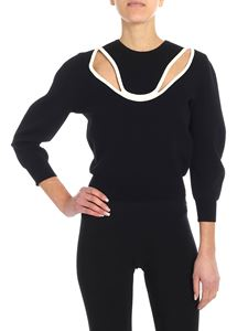 Alexander McQueen - Black cropped sweater with cut-out detail