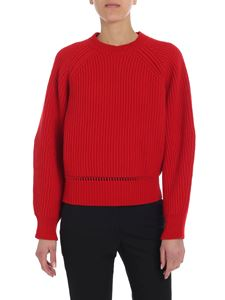 Alexander McQueen - Red crew neck sweater with cable knit motif
