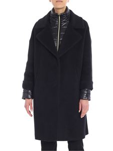 Herno - Black coat with quilted detail