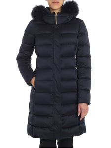 Herno - Blue down jacket with fur