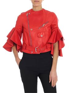 Alexander McQueen - Red leather jacket with ruffled sleeves