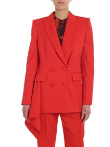 Alexander McQueen - Red ruffled double-breasted jacket