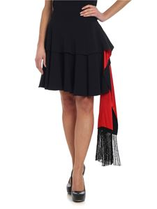 Alexander McQueen - Black mini skirt with red ruffles and fringes