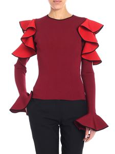 Alexander McQueen - Burgundy ruffled sweater