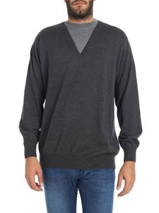 Alexander McQueen - Melange grey V-neck sweater with patches