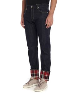 Alexander McQueen - Blue 5-pockets jeans with rolled cuffs