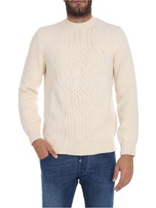 Alexander McQueen - Ecru crew neck sweater with cable knit motif