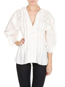 Chloé - Silk blouse with lace and V-neck