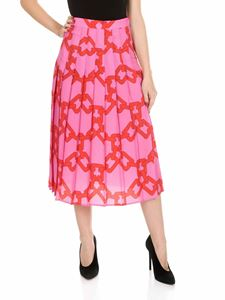 MSGM - Pink pleated skirt with chain print