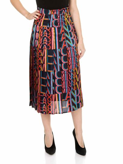 MSGM - Blue pleated skirt with Milano print