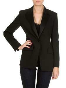 Dondup - Black single-breasted jacket with satin lapels