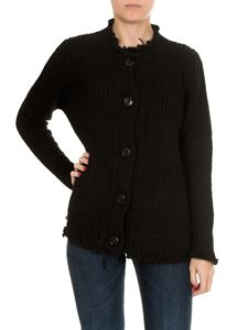Dondup - Black wool cardigan with fringed edges