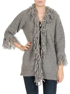 Dondup - Gray cardigan with wool fringes
