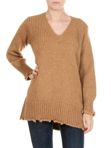 Dondup - Camel-colored pullover with V-neck
