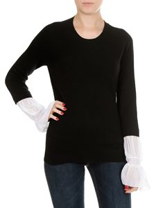 Dondup - Black crewneck sweater with white inserts