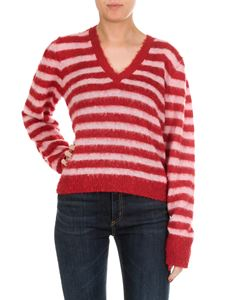 Dondup - Red and white striped V-neck pullover