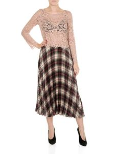 Shirtaporter - Pleated pink dress with lace