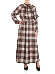 Shirtaporter - Long tartan dress with velvet edges