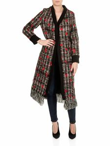 Shirtaporter - Red fringed coat with multicolor yarns