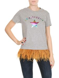 Shirtaporter - Grey short sleeve t-shirt with feathers