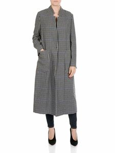 Shirtaporter - White and blue houndstooth coat