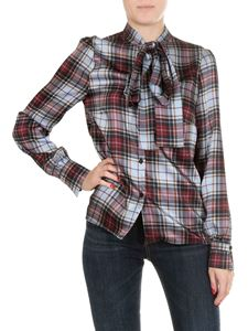 Shirtaporter - Light blue tartan shirt with bow