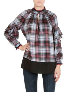 Shirtaporter - Light blue tartan shirt with ruffles
