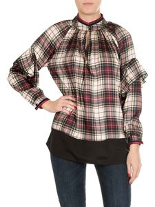 Shirtaporter - White and red tartan shirt with ruffles