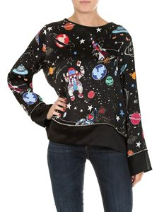 Shirtaporter - Black blouse with space print