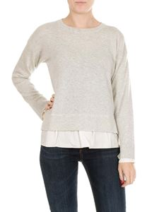 Jucca - Grey melange pullover with technical fabric insert