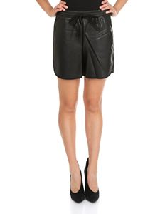 MY TWIN Twinset - Black eco-leather shorts